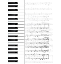 Piano keys and notes background vector