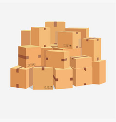 Pile of cardboard boxes stacked sealed goods vector