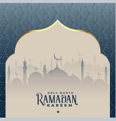Ramadan kareem beautiful islamic mosque background vector