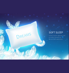 realistic sleep concept soft sleep pillow with vector image