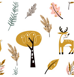 seamless childish pattern with cute deer vector image