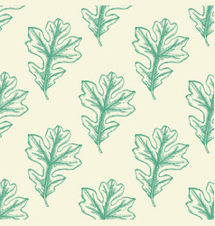 seamless pattern with green oak leaves vector image