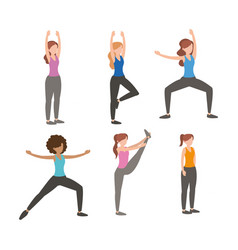 set fitness women doing exercise vector image