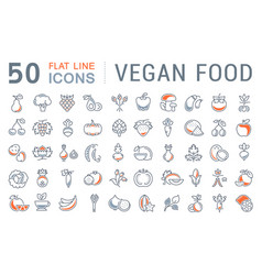 set flat line icons vegan food vector image