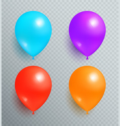 Set flying balloons of blue purple red and orange vector