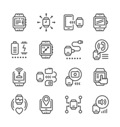 Set line icons of smart watch vector
