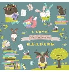 Set of cartoon animals reading books vector