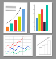 set of four charts colorful vector image