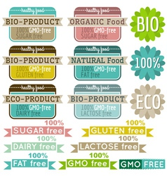 Set of natural organic product labels and emblems vector