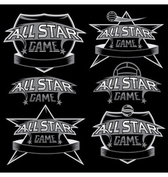 set vintage sports all star crests with soccer vector image