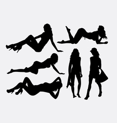 Sexy girl holiday silhouette vector