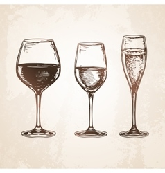 Sketch set of wineglasses vector
