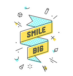 Smile big vintage ribbon banner vector