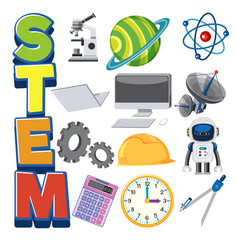 stem logo and set education objects isolated vector image