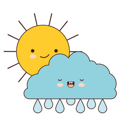 sun and cloud with drops rain colorful kawaii vector image