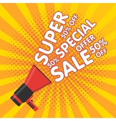 Super sale banner Announcement megaphone vector image