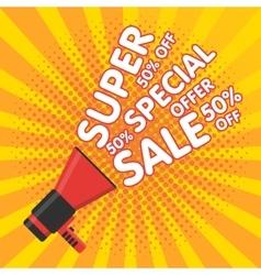Super sale banner Announcement megaphone vector