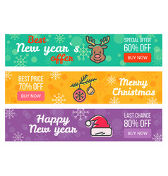 Three sale posters special offer merry christmas vector