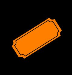 Ticket sign orange icon on black vector