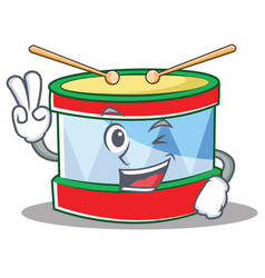Two finger toy drum character cartoon vector