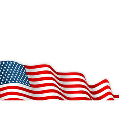 usa flag waving on wind 4th july or vector image