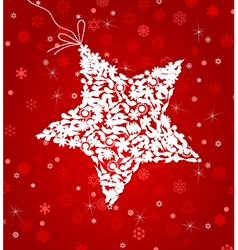 White star on a red background a vector