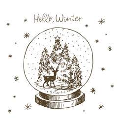 winter snow globe with christmas tree deer vector image