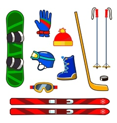 Winter sports equipment icons set vector image vector image