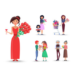 woman in red dress with roses and glass of wine vector image