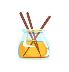Wooden aroma sticks in glass jar with oil vector