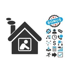 Workshop Building Flat Icon with Bonus vector image