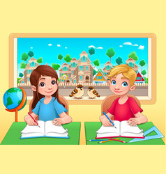 Young students boy and girl in the classroom vector
