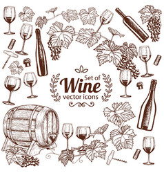 background of sketch wine icons with round frame vector image