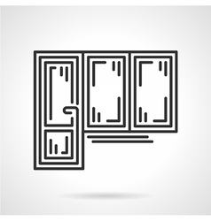 Balcony door black line icon vector image