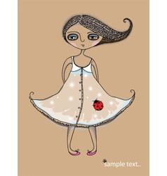 Girl with Ladybug vector image vector image