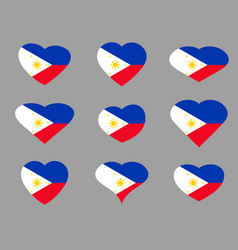 hearts with the flag of philippines i love vector image