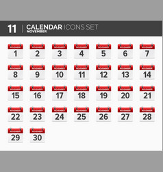 november calendar icons set date and time 2018 vector image