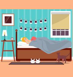 sleeping young girl flat vector image
