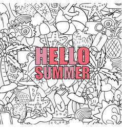 hello summer beach hand drawn symbols and objects vector image vector image