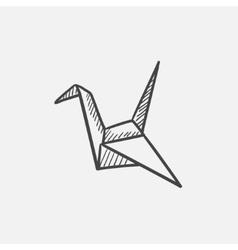 Origami bird sketch icon vector image