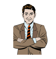 pop art man business crossed arms vector image vector image