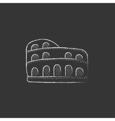 Coliseum Drawn in chalk icon vector image vector image