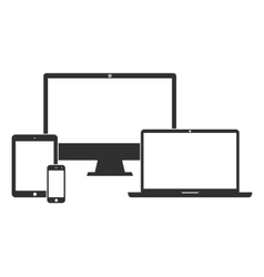 Electronic devices with white blank screens vector image vector image