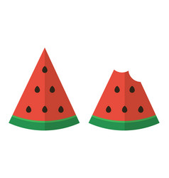 Flat design two slices of watermelon vector image vector image