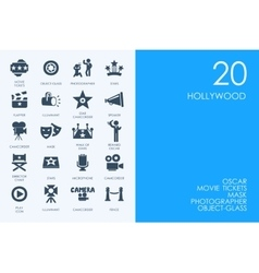 Set of BLUE HAMSTER Library Hollywood icons vector image