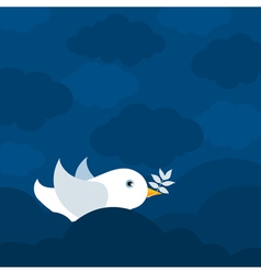 white pigeon bears a branch a vector image