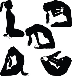 Yoga - a variety of exercises- vector image vector image