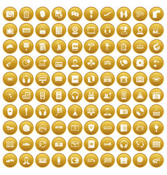 100 headphones icons set gold vector image vector image