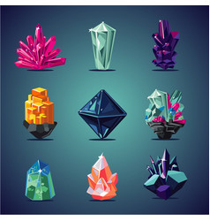 crystal isolated icons set magic stones vector image
