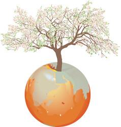earth - apple tree vector image vector image